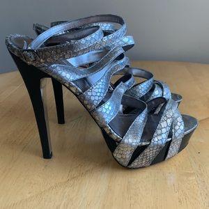 Bebe silver strappy stiletto platform heels sz 10